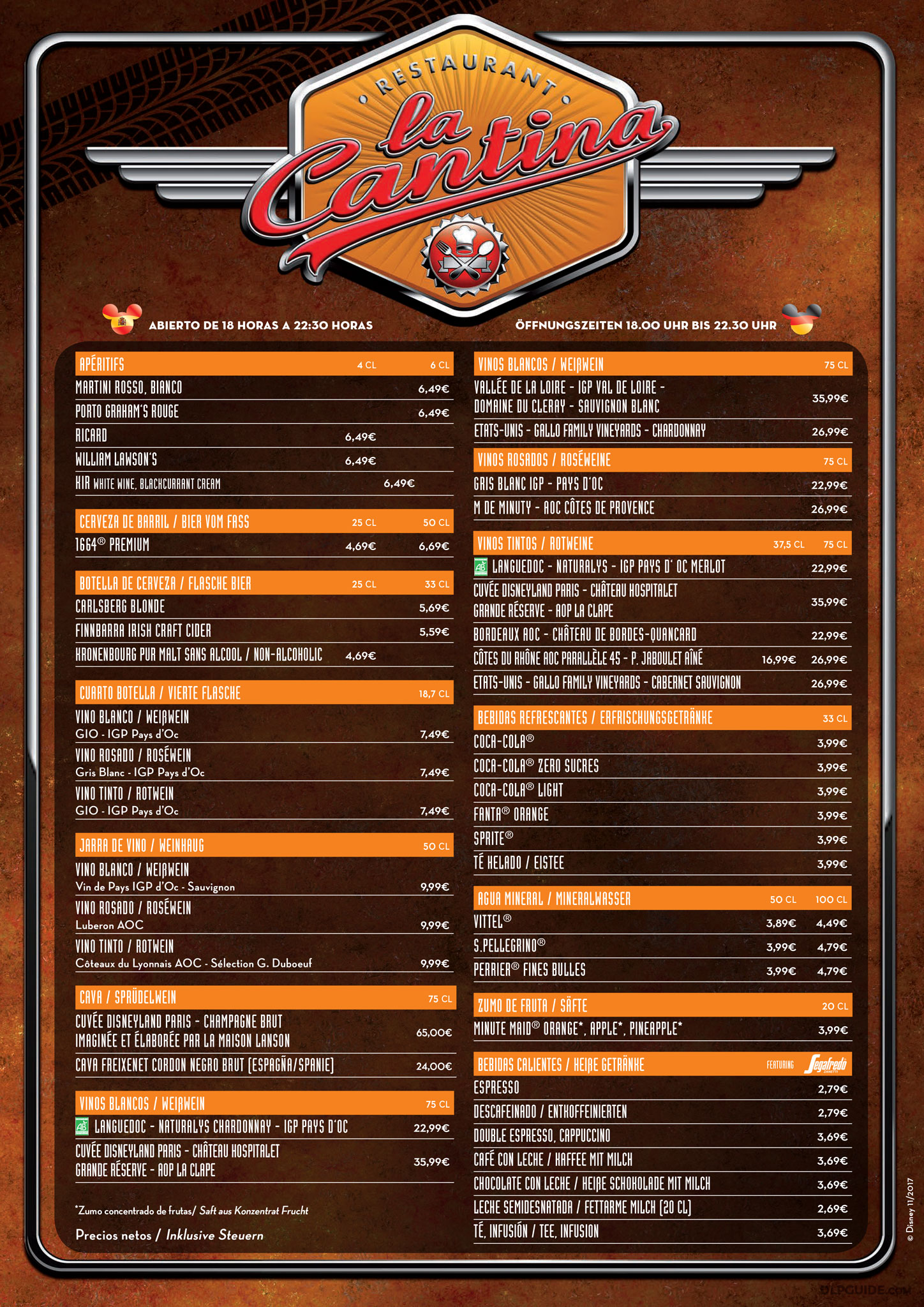 La Cantina Menu Dlp Guide Disneyland Paris Restaurants