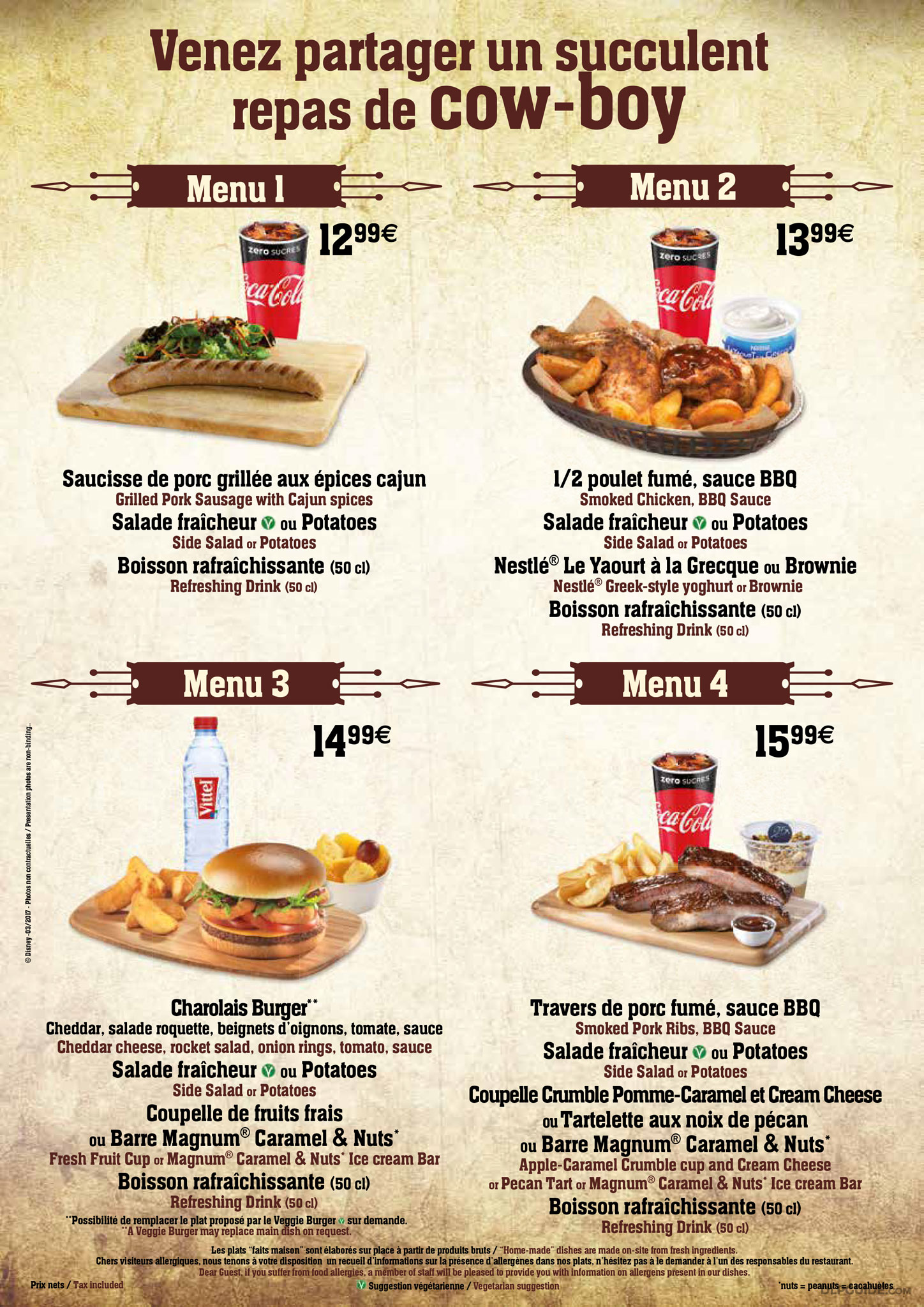Cowboy Cookout Barbecue menu — DLP Guide • Disneyland Paris ...
