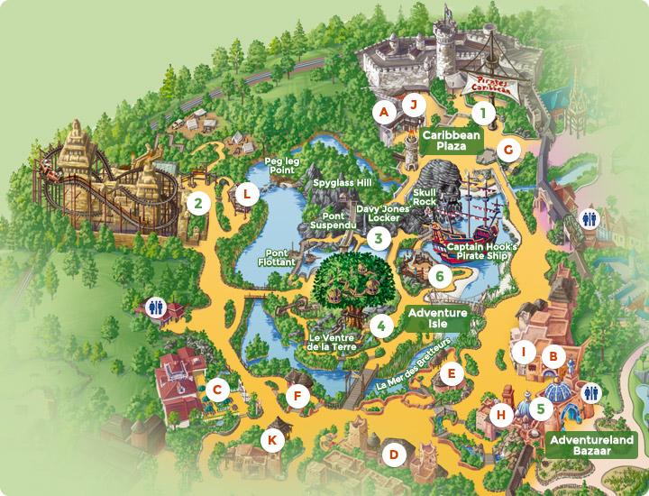 Map of Adventureland — DLP Guide • Disneyland Paris Guidebook Disneyland Park Map on