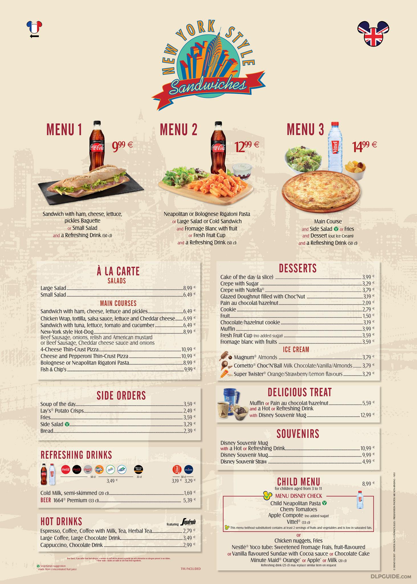 new york style sandwiches menu — dlp guide • disneyland