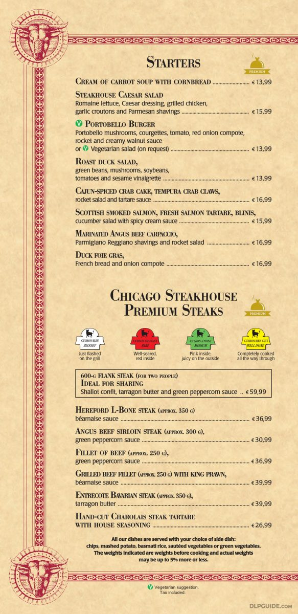 The Steakhouse menu