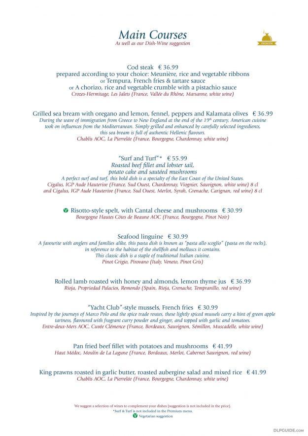 Yacht Club, Disney's Newport Bay Club menu