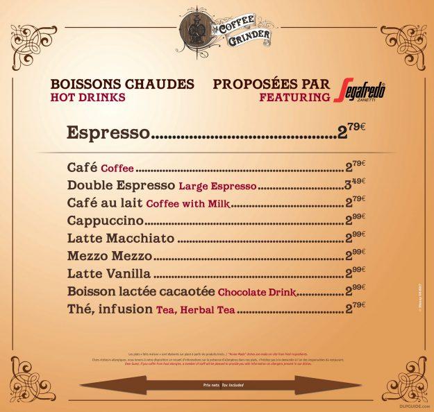 The Coffee Grinder menu