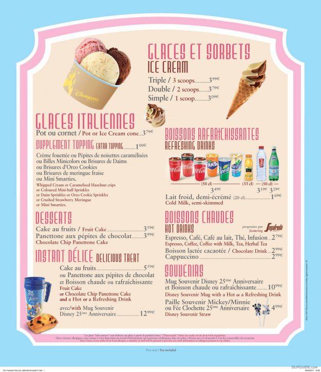 Fantasia Gelati menu