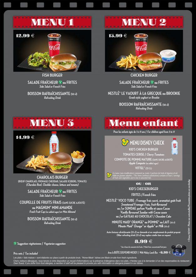 Restaurant en Coulisse menu