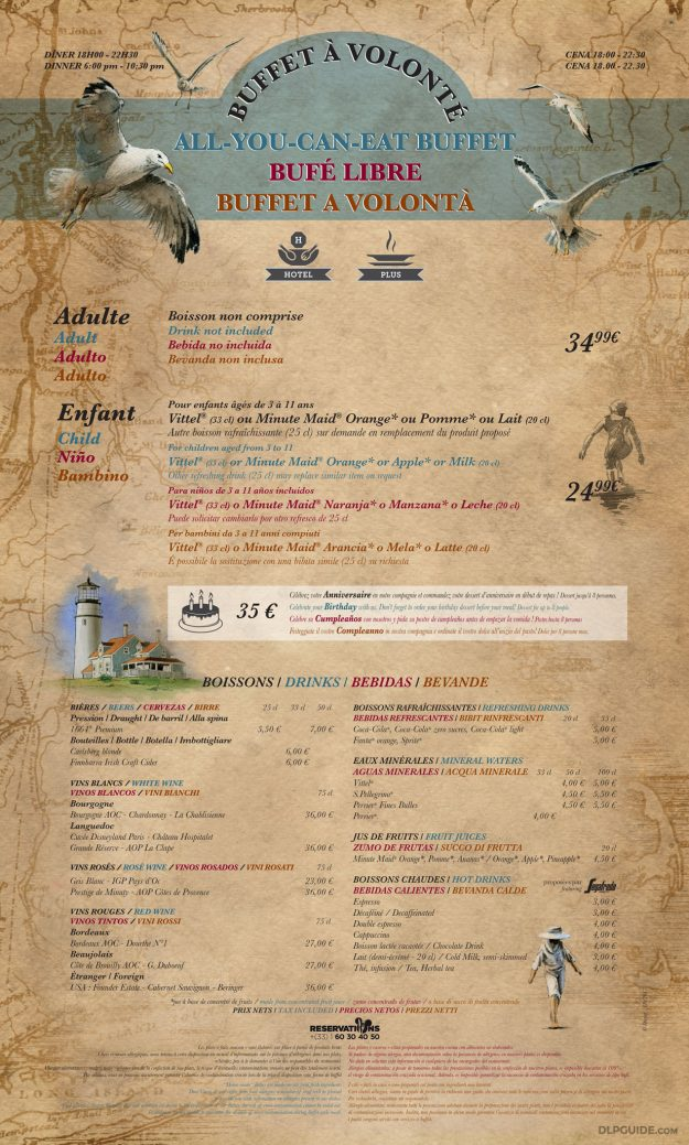 Cape Cod, Disney's Newport Bay Club menu