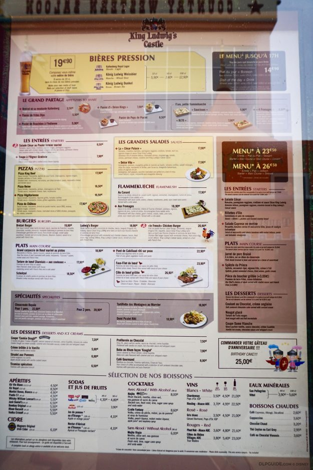 King Ludwig's Castle menu